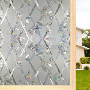 3D Privacy Stained Glass Window Film Static Cling Window Film for Home Office