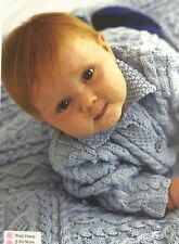 KNITTING PATTERN Baby Cable Set Collar Jacket Hat Bootees Mittens Blanket Patons