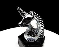 """STUDIO ART GLASS CLEAR CONTROLLED BUBBLE 3 7/8"""" UNICORN FIGURAL PAPERWEIGHT"""