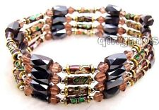 "SALE long 29"" Purple Cloisonne Hematite & Magnetic Beads necklace /Bracelet-5174"