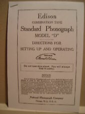 "Instructions Booklet for Edison Phonograph Model ""D"""