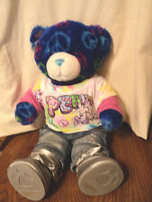 "Build A Bear Talking Blue Peace And Hugs Bear Plush 15"" Peace Top Jeans Boots"