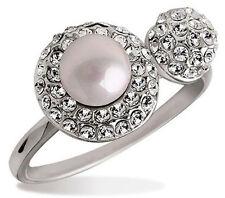 Elegante & Elegante da Cerimonia Bianco Perla Strass Argento Anello medie dimensioni o fr52