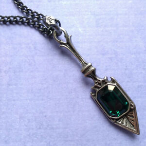 Alchemy Gothic Sucre Vert Absinthe Spoon Pendant Necklace Green Crystal P607