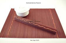 4 Fine Quality Handmade Bamboo Placemats Table Mats, Burgundy (Purple), PJ016