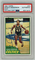 1981 CELTICS Gerald Henderson signed ROOKIE card Topps #74 PSA/DNA AUTO RC