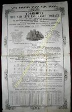 1867 INSURANCE Fine YORKSHIRE FIRE & LIFE attractive printed chart of Annuities