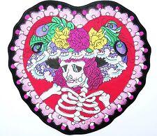 "Rockabilly Day Of Dead Flower Heart Sugar Skull Big XL Embroider Back Patch 10"""