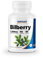 Nutricost Bilberry Capsules 1200mg (90 Veggie Capsules) - Gluten Free & Non-GMO
