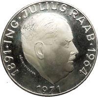 1971 Austria Chencellor Julius Raab Large 50 Schillings Silver Coin i53075