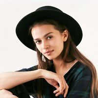 Wool Pork Pie Boater Flat Top Hats For Women Men Wide Brim Fedora Hat Top Flat