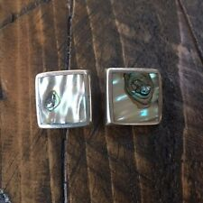 Vintage .925 Silver Mexico Mother of Pearl Shell Square Clip On Earrings