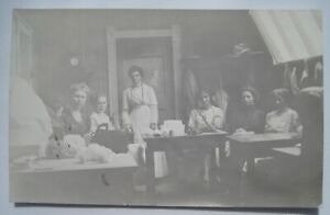 Sauk Centre MN Hat Shop Interior; Women Working Old 1904-18 RPPC Postcard