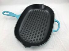 Le creuset Teal Cast iron skillet flame Oval Skillet Made in France Brand New