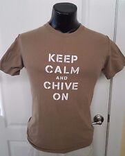 theChive Chivery Keep Calm and Chive On Military Brown T Shirt Small Rare