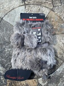 SALE REDUCED NEXT FAUX FUR BOOT CUFFS WITH POM POMS BRAND NEW