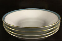 "Rare Scherzer Bavaria Germany 4 Pc ""Spring Blue""  7.5"" Soup Bowl Set, Excellent"
