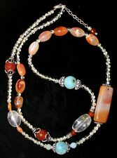 Carnelian Necklace Rock Crystal Faceted Stones Sterling Silver Clasp LONG Strand