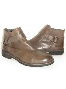 KICKERS Taupe Leather side zip Mens Ankle Boots SZ 42 EUR - 9.5 USA