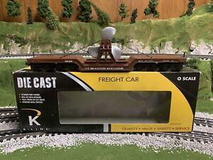 ✅K-LINE BY LIONEL DIE CAST WESTERN MARYLAND FLAT CAR W/ PROPELLER! O SCALE NAVY