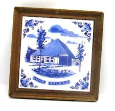 Blue & White Dutch Tile STOLP BOERDERIJ Bell Jar Farm House Framed No Glass
