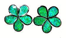 """Silver 925 SF Earrings 5/8"""" Large Green Lab Fire Opal PLUMERIA Flowers"""