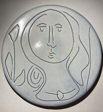 Jacques Innocenti Glazed Earthenware Mid-Century Modern Ceramic Face Plate