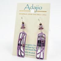 Adajio Earrings Purple 'Reeds' over Shiny Silver Tone Teardrop Handmade 7918