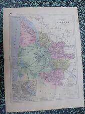 Carte géographique couleur 19°: GIRONDE avec le plan de BORDEAUX et ses environs