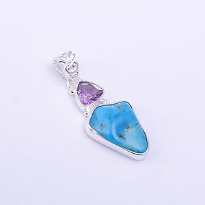 925 Sterling Silver Pendant, Turquoise Raw Gemstone Handcrafted Jewelry RSP1230