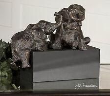 DESIGNER AGED FRENCH BRONZE PLAYFUL ELEPHANTS STATUE MODERN ART SCULPTURE