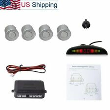 Silver Car Auto Vehicle Reverse Backup Radar System 4 Parking Sensors Beep Sound
