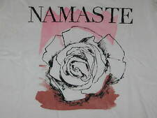Womens Size S LIFE IS GOOD Namaste Yoga Fitted Newbury Scoop Neck Tee White