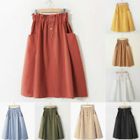 Womens A-Line Denim Vintage High Waist Bandage Ladies Long Skirt With Pockets