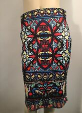 Church Stained Glass Stretch Pencil Skirt Size L 12 New