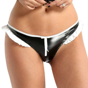 Sexy Women's Mini Leather Ruffled Lace G-string Thongs Panties Briefs Underwear