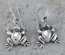 Unique .925 Sterling Silver Detailed Frog Earrings style# e1069