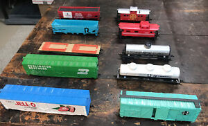 #7 Lot of 10 Vintage TYCO LIFELIKE & Other HO Scale Freight Train Railroad Cars