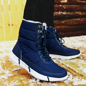 Mens Fur Lined Snow Boots Anti-Slip Winter Warm Boots Casual Shoes Fashion Size