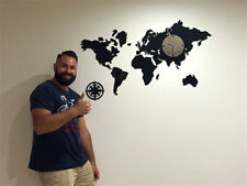 Modern Design DIY 3D Wall Clock World Map Large Mute Home Decor Watch Gift