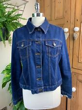 VINTAGE 1980S LADIES SHORT INDIGO WESTERN WAISTER RETRO DENIM JACKET 16