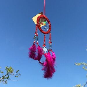 New Small Red and Mirror Dream Catcher Native American Wall Hanging Mobile