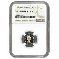 Malta 2 Cents 1976FM Franklin Mint NGC PF 70 Ultra Cameo KM# 9