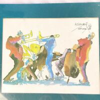 Leo Meiersdorff 1982 New Orleans Jazz Music Quartet Signed Watercolor Print