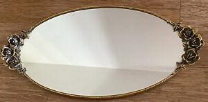 VTG Filigree Gilded Metal Oval Mirror Dresser Vanity Tray Rose Handles 21 x 10