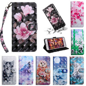 For Huawei P Smart 2020, 2019 Floral Magnet Flip Leather Wallet Case Phone Cover