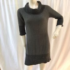 Soft Surroundings Womens Size M Sweater Dress Gray Cowl Neck Tunic Wool Blend