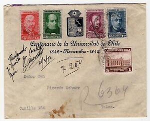 CHILE 1943 Universidad de Chile FDC send to Talca great franking
