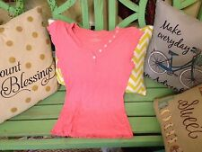 Women's medium cotton short sleeve old college inn pink blouse