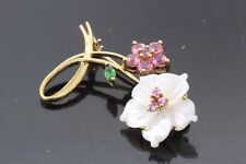 Women's 10k Yellow Gold Mother of Pearl Brooch Pin 3.3g #31218